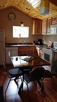 Full kitchen in cabin #7 at Balsam Beach Resort on Lake Plantagenet.