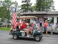 Join in our golf cart parades at Balsam Beach Resort, Bemidji, MN.