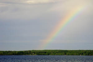 Rainbow seen from Balsam Beach resort overlooking Lake Plantagenet