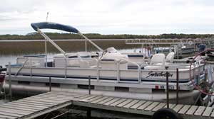 Available for Balsam Beach Resort guests to rent is a 22ft pontoon boat.